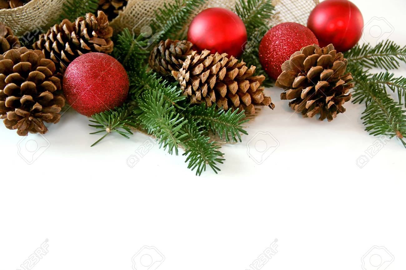 Red Christmas Tree Ornaments Pine Cones Evergreen Branches
