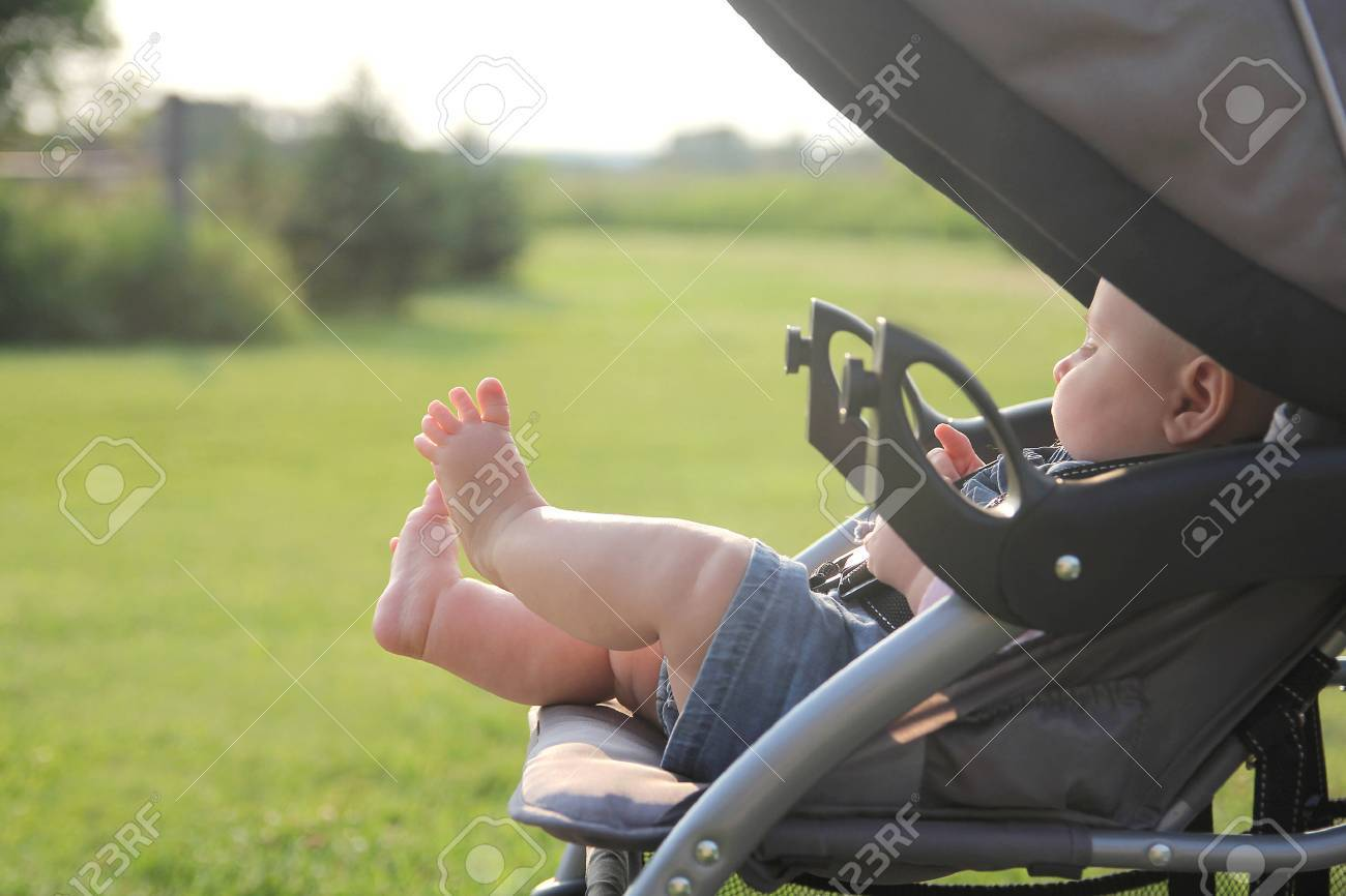 The cute, chubby legs of a newborn baby girl are sticking out of a stroller while on a walk outside in the country. - 43154028