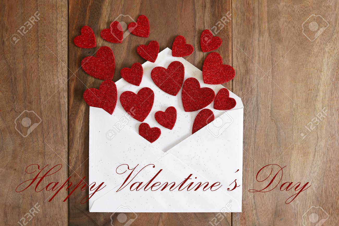 A White Envelope Is Spilling Out Hearts From A Valentine S Day