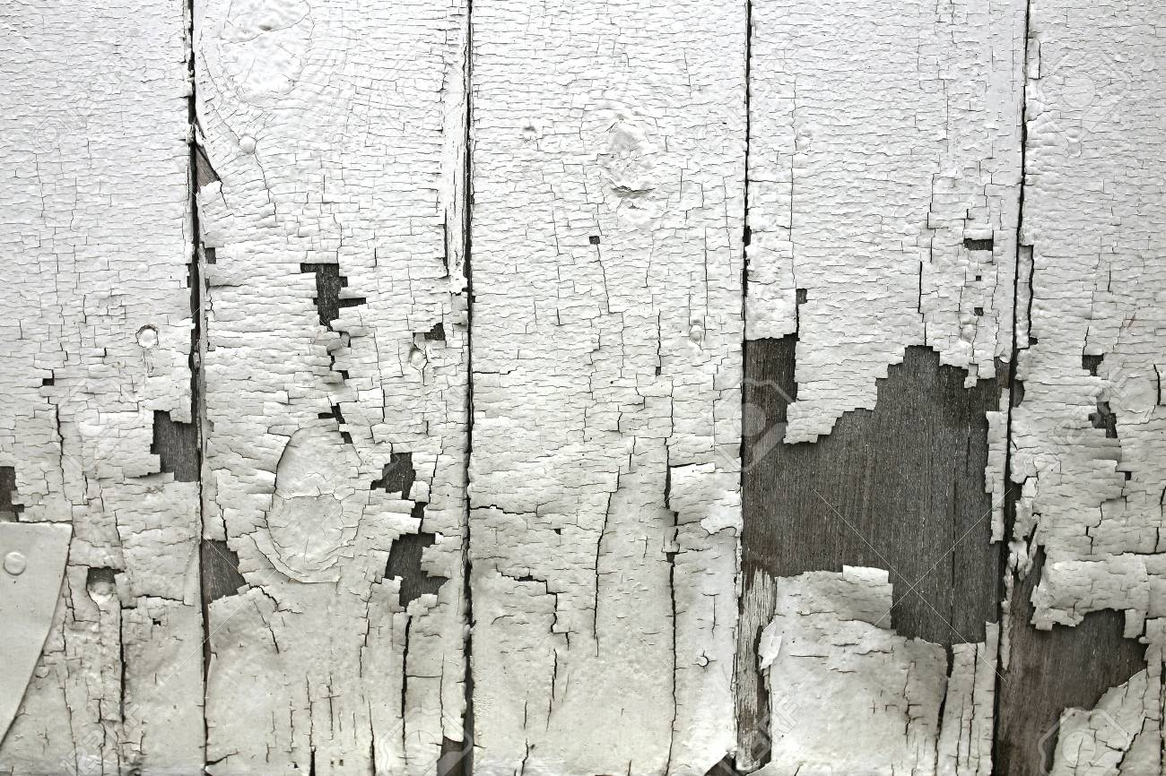 A Textured Background Of Peeling White Paint On The Wooden Exterior
