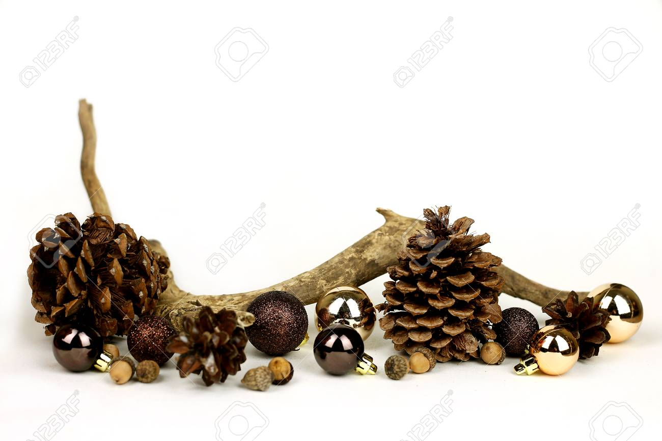 Isolated weathered driftwood acornes and pinecones with gold and brown Christmas Tree decorations  sc 1 st  123RF.com & Isolated Weathered Driftwood Acornes And Pinecones With Gold ...