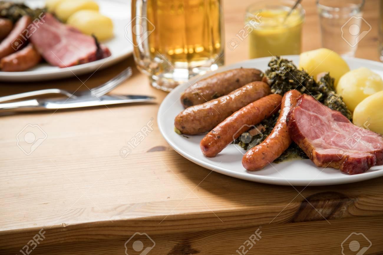 Oldenburger green cabbage with sausage mix, Kassler pork neck,