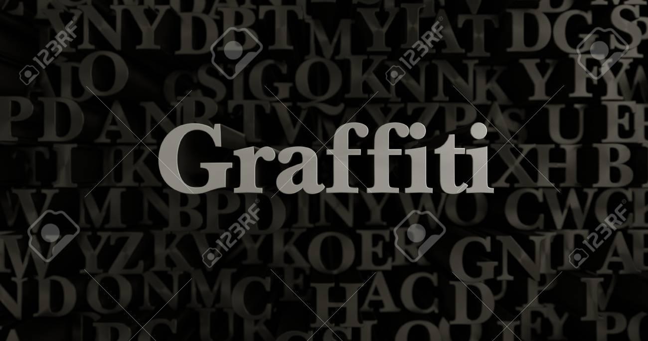 Graffiti 3d Rendered Metallic Typeset Headline Illustration