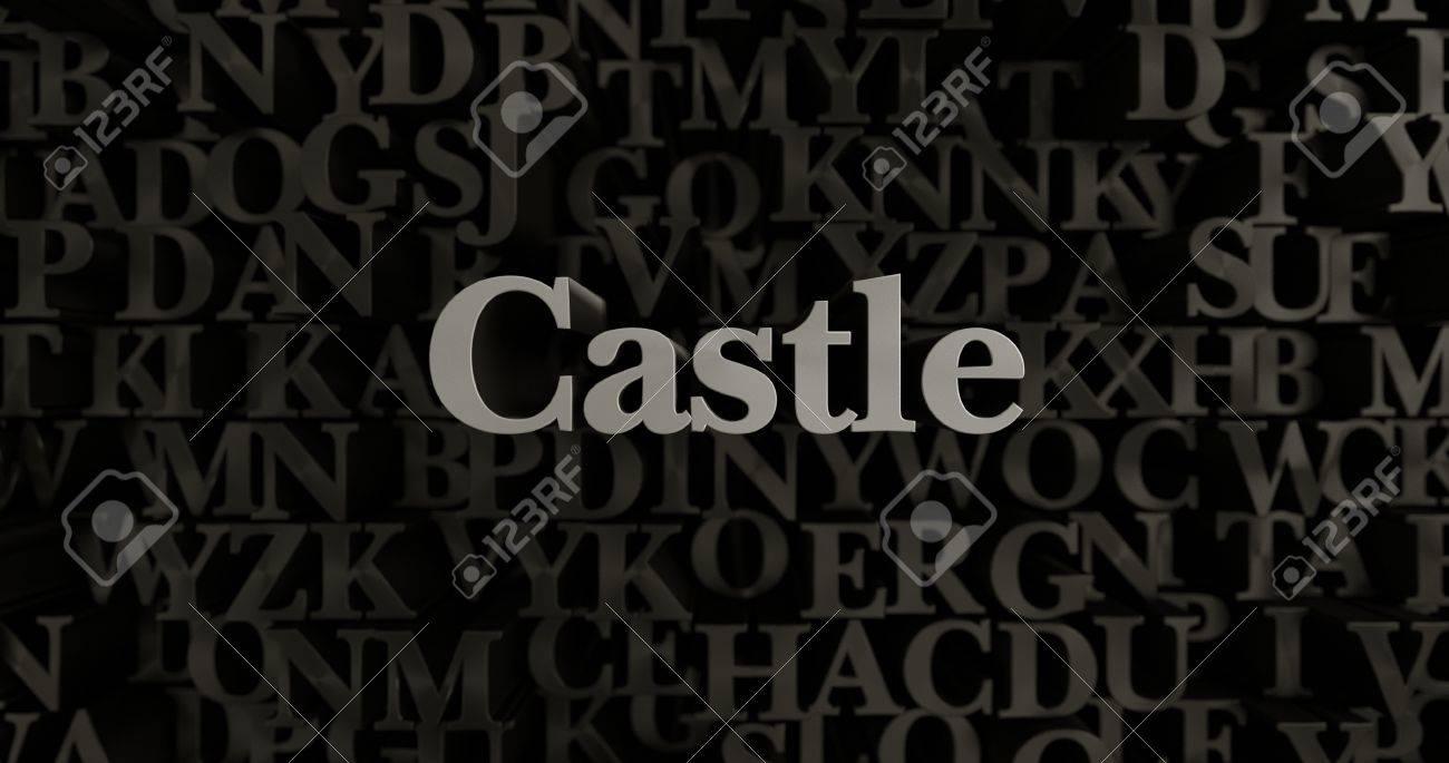 castle - 3d rendered metallic typeset headline illustration