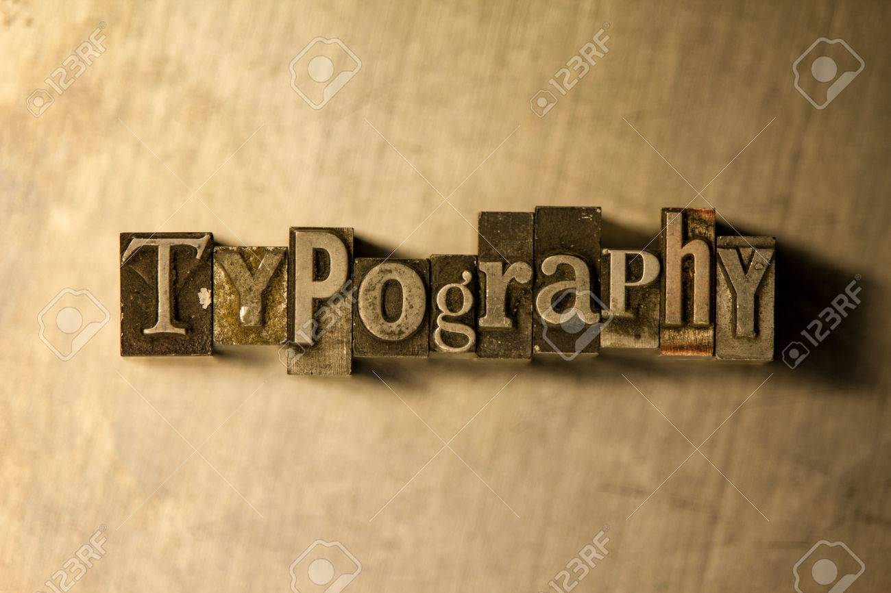 "Lettering On Metal Bronze Metal ""typography"" Lettering On Wooden Background Stock"