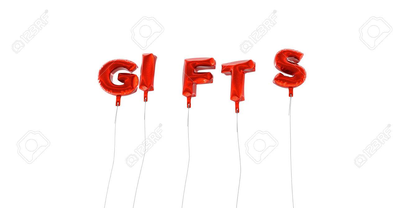 gifts word made from red foil balloons 3d rendered can stock