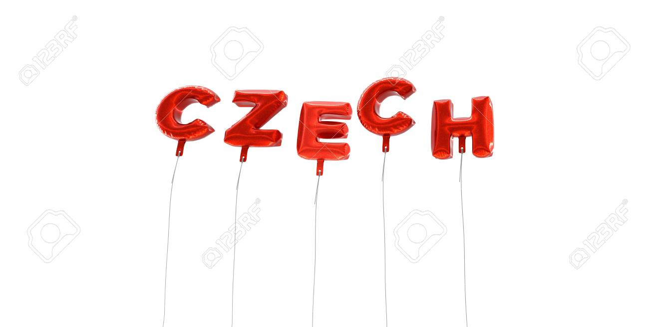 CZECH - word made from red foil balloons - 3D rendered  Can