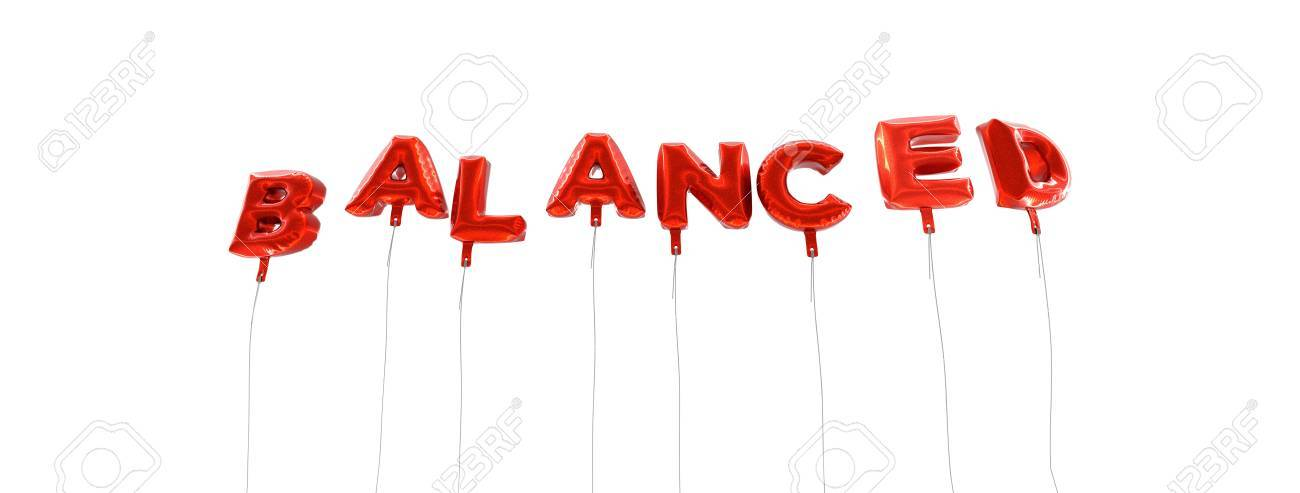 balanced word made from red foil balloons 3d rendered can