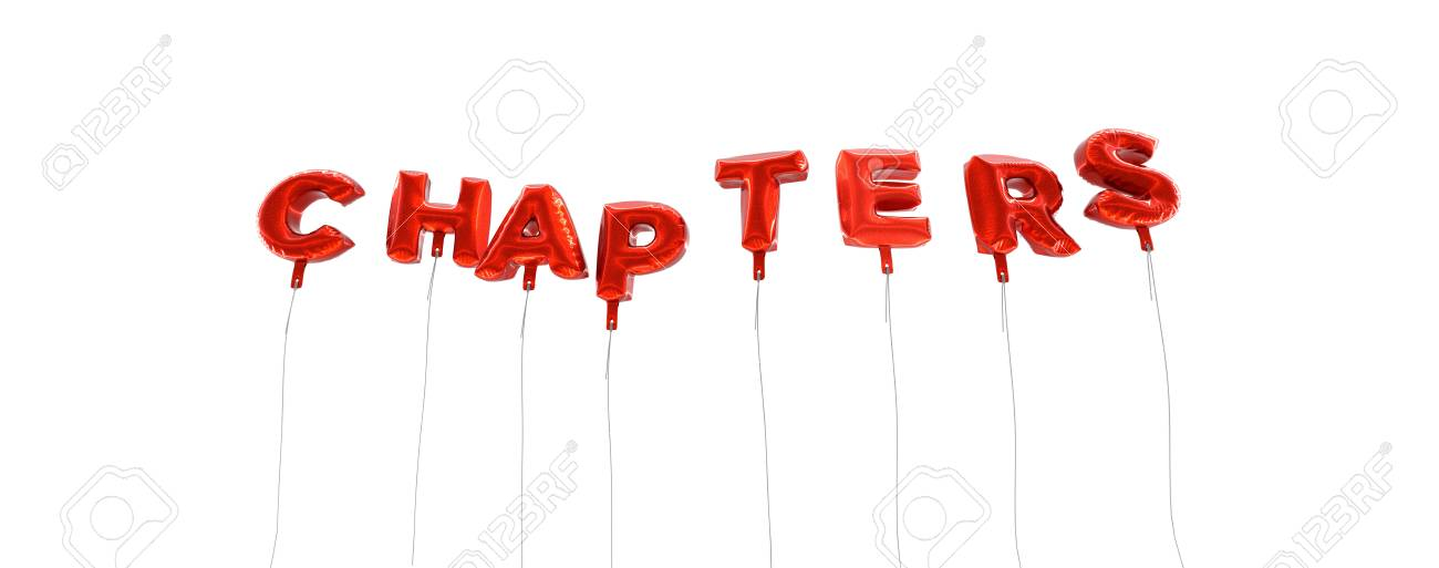 chapters word made from red foil balloons 3d rendered can
