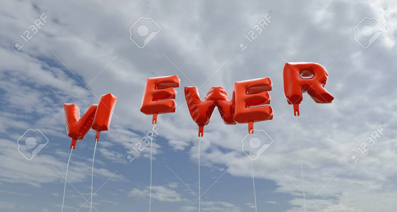 VIEWER - red foil balloons on blue sky - 3D rendered royalty