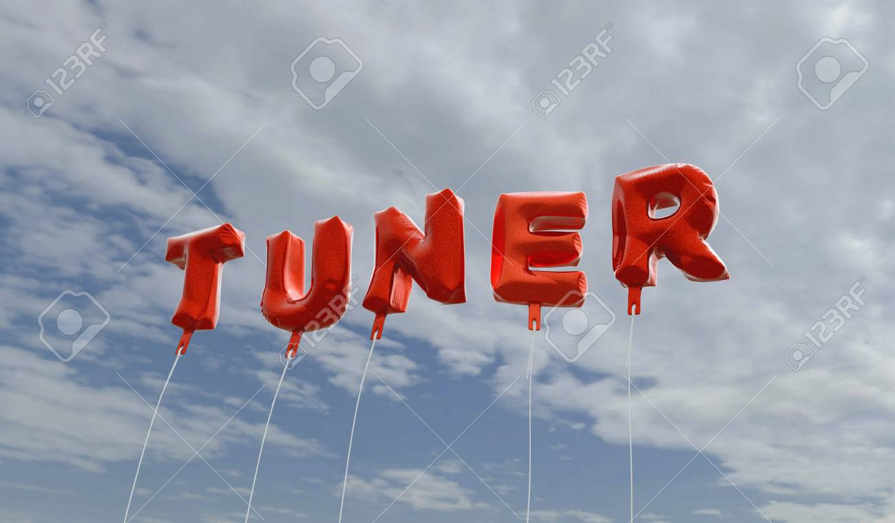 TUNER - red foil balloons on blue sky - 3D rendered royalty free
