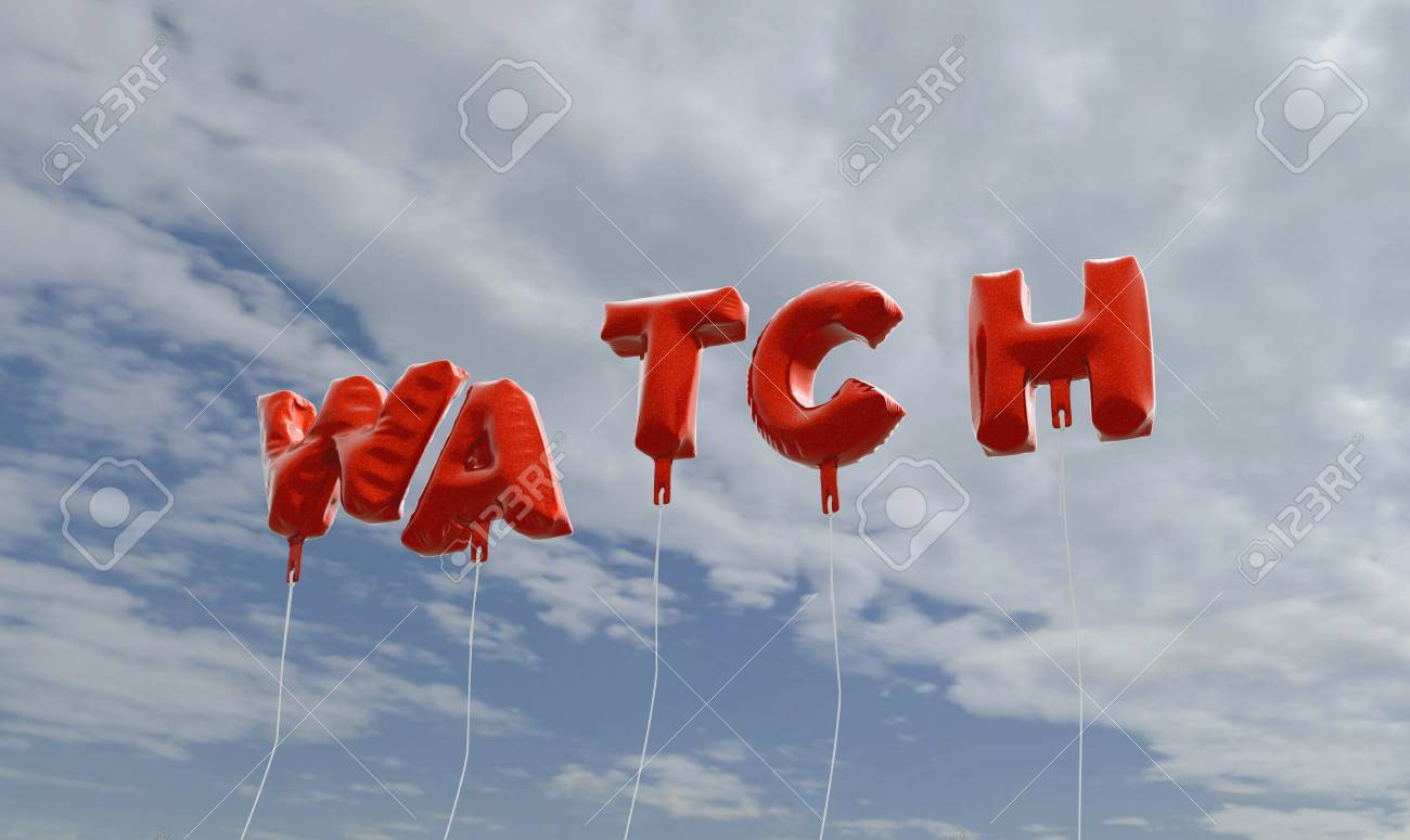 Stock P O Watch Red Foil Balloons On Blue Sky 3d Rendered Royalty Free Stock Picture This Image Can Be Used For An Online Website Banner Ad Or A