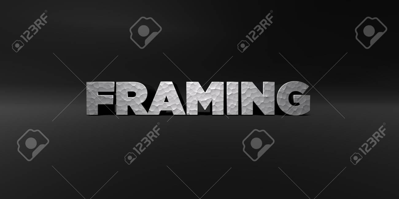 Framing - Gehämmerten Metall-Finish Text Auf Schwarzem Studio - 3D ...