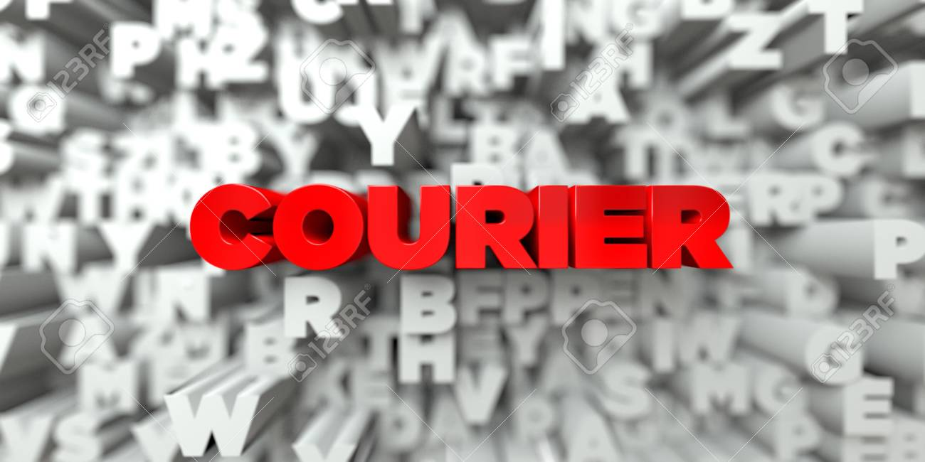 COURIER - Red text on typography background - 3D rendered royalty