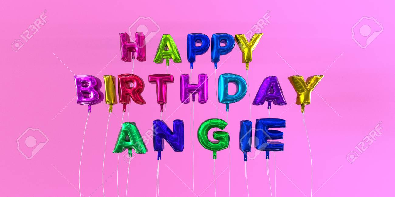Happy Birthday Angie Card With Balloon Text