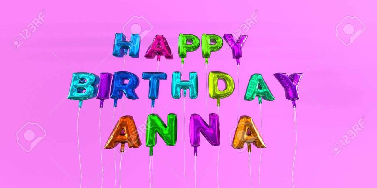 Joyeux Anniversaire Anna Carte Avec Texte De Ballon Image Stock