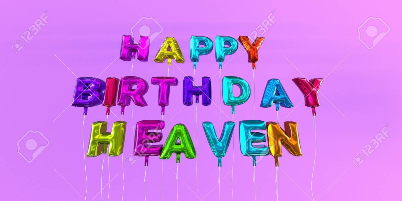 Happy Birthday Heaven Card With Balloon Text