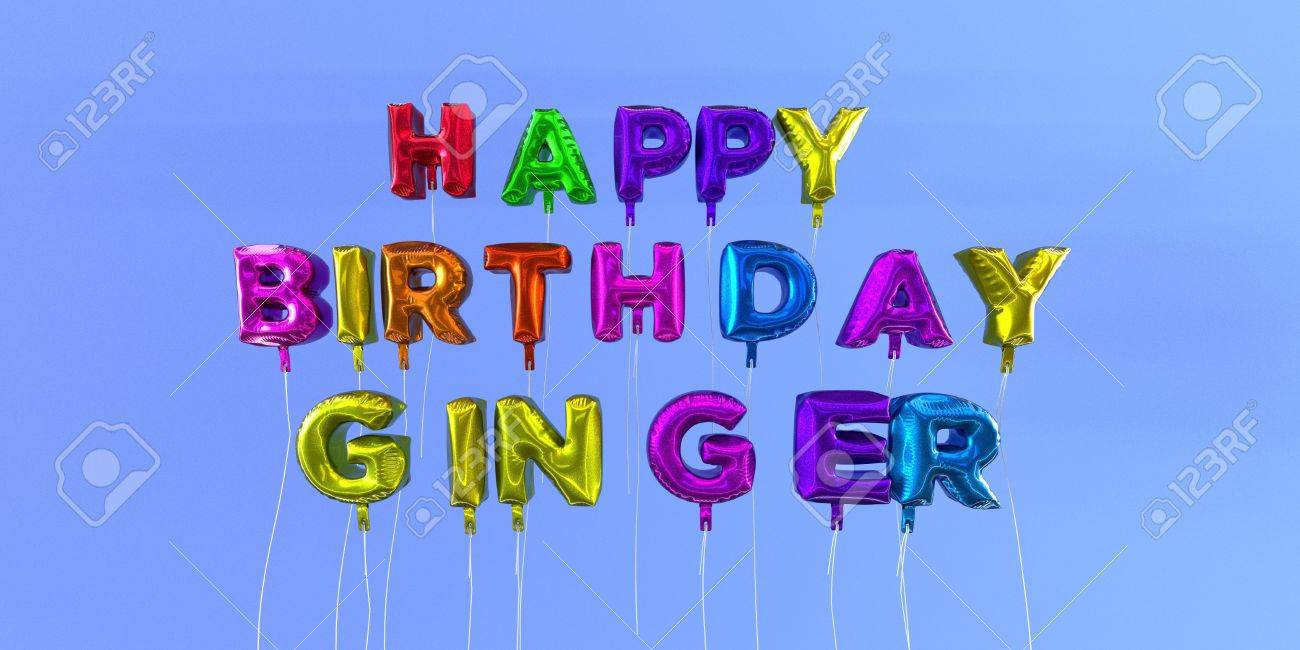 Happy Birthday Ginger Card With Balloon Text