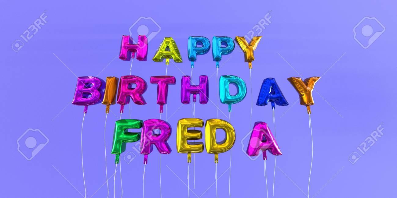 Joyeux Anniversaire Freda Carte Avec Texte De Ballon Image Stock