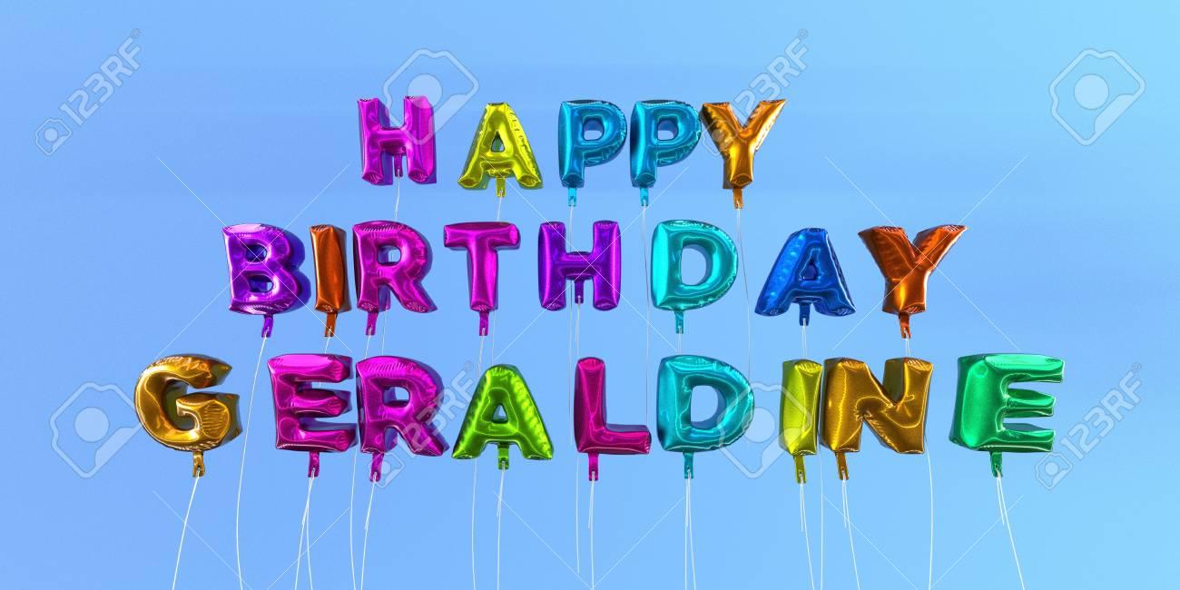 Carte De Joyeux Anniversaire Geraldine Avec Texte Ballon Image