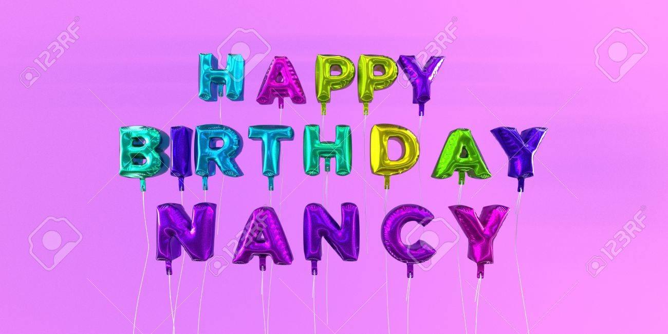 Scheda Di Nancy Felice Con Testo A Palloncino 3d Rendering Stock