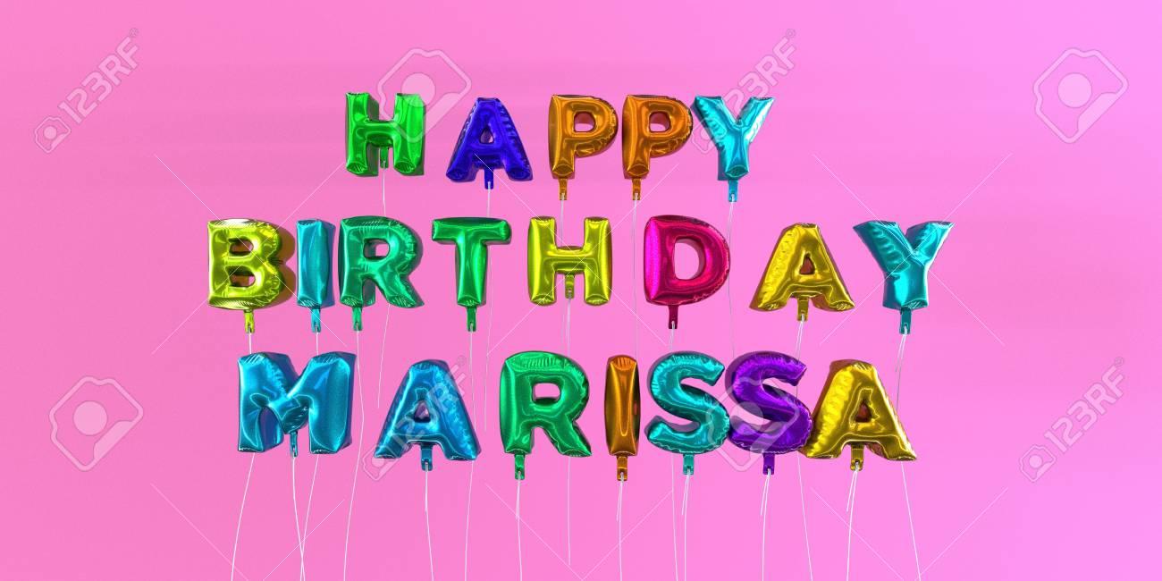 happy birthday marissa Happy Birthday Marissa Card With Balloon Text   3D Rendered Stock  happy birthday marissa