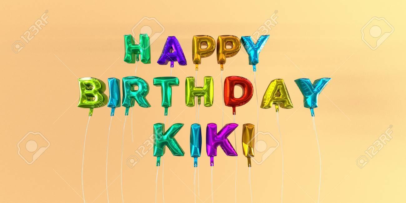 Carte De Joyeux Anniversaire Kiki Avec Texte De Ballon Image Stock