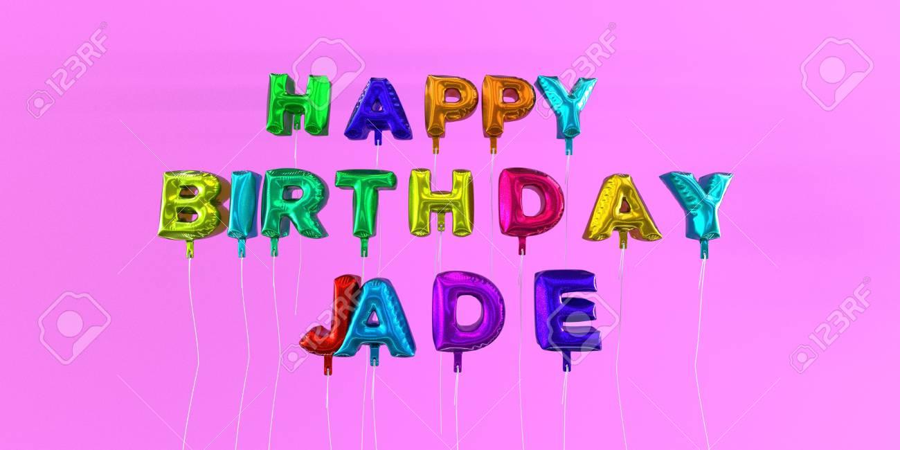 Joyeux Anniversaire Carte Jade Avec Texte Ballon Image Stock Rendu