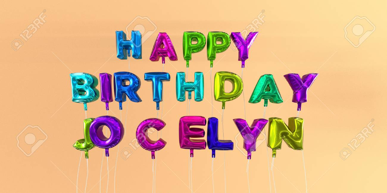 Joyeux Anniversaire Jocelyn Carte Avec Ballon Texte Image Stockee