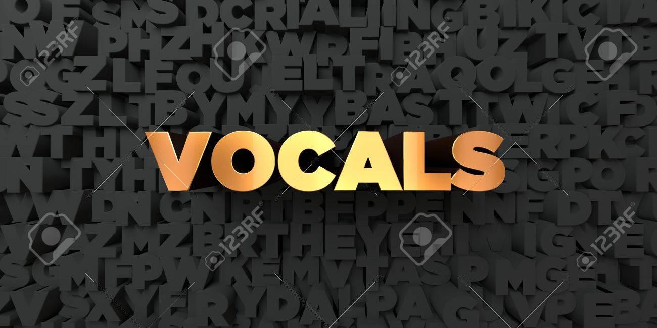 Vocals - Gold text on black background - 3D rendered royalty
