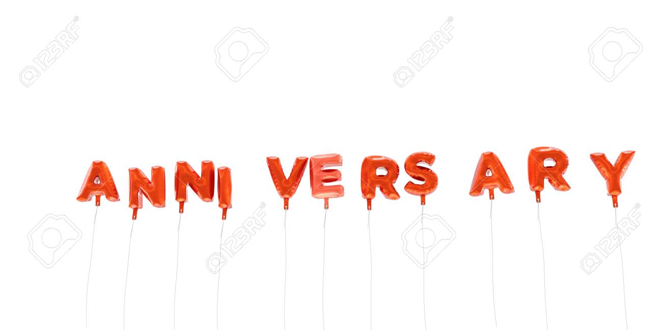anniversary word made from red foil balloons 3d rendered can be used for