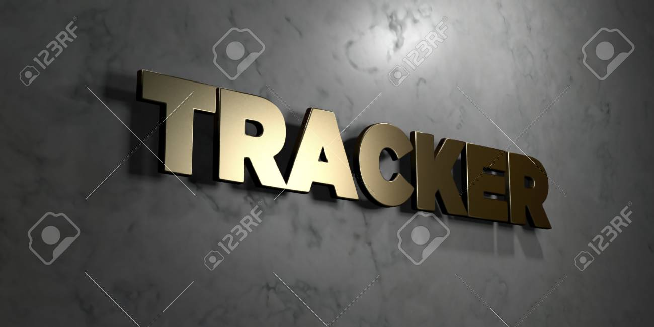 tracker gold sign mounted on glossy marble wall 3d rendered