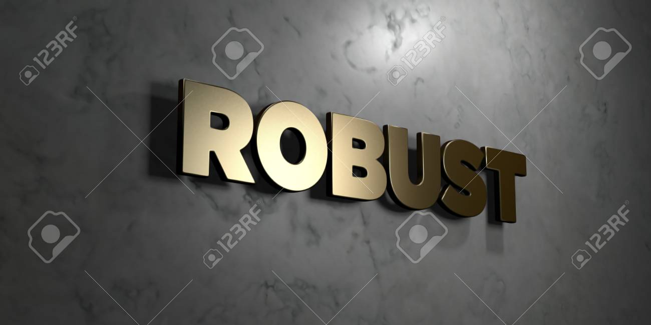 robust gold sign mounted on glossy marble wall 3d rendered