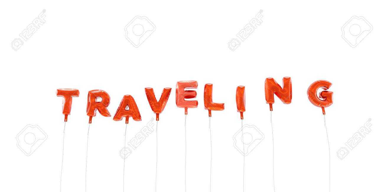 traveling word made from red foil balloons 3d rendered stock