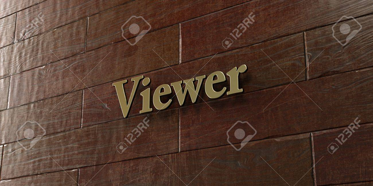 Viewer - Bronze plaque mounted on maple wood wall - 3D rendered