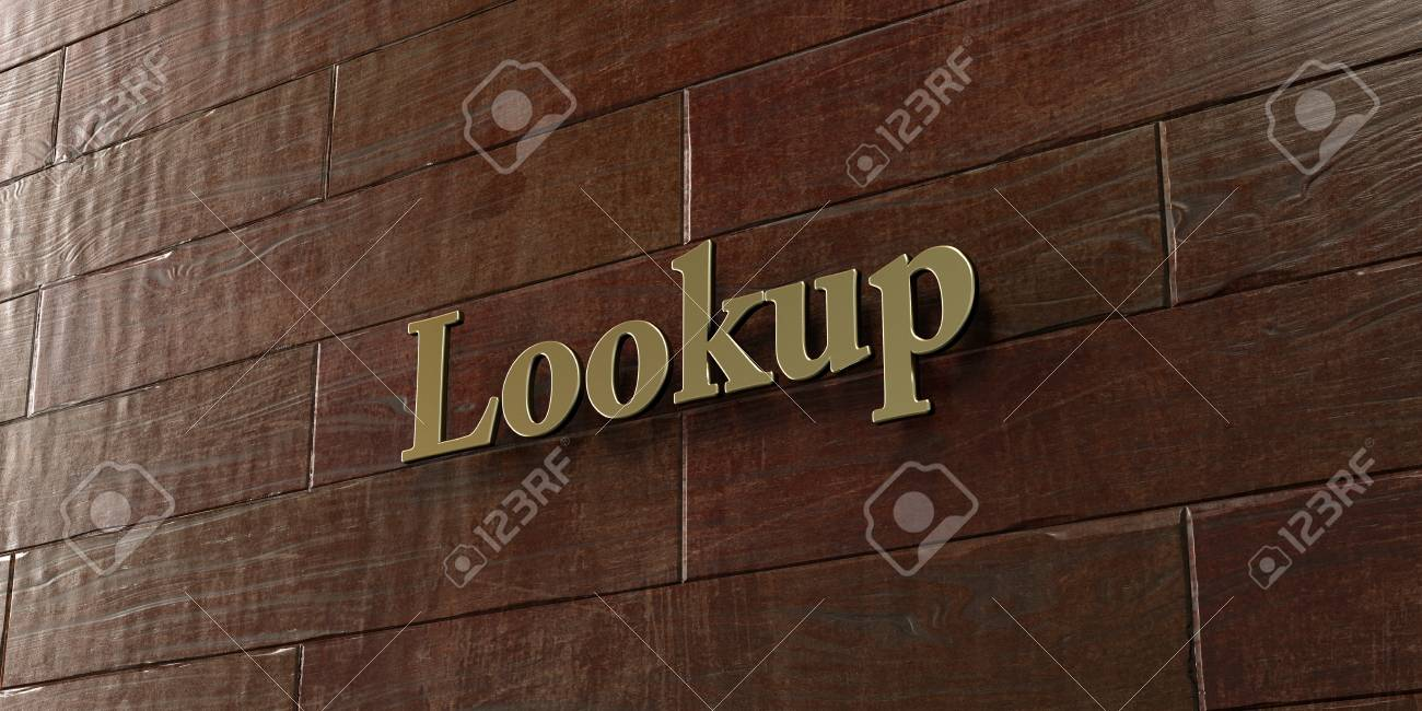 Lookup - Bronze plaque mounted on maple wood wall - 3D rendered