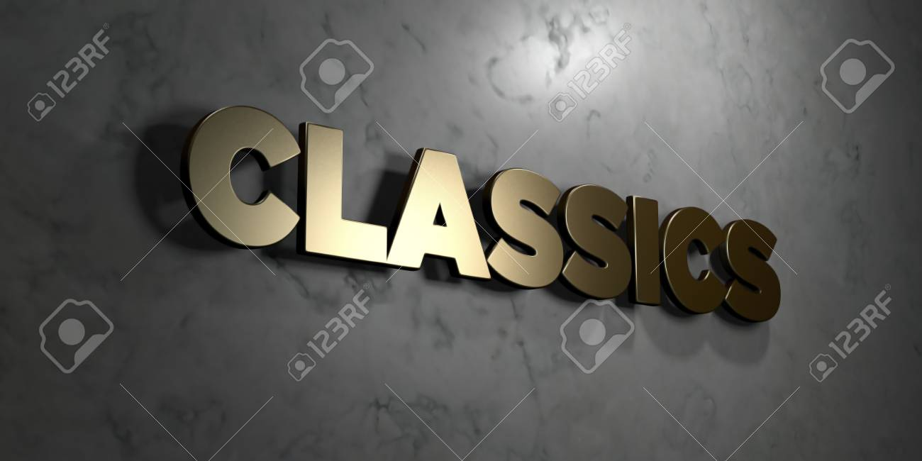 Classics - Gold Sign Mounted On Glossy Marble Wall - 3D Rendered ...