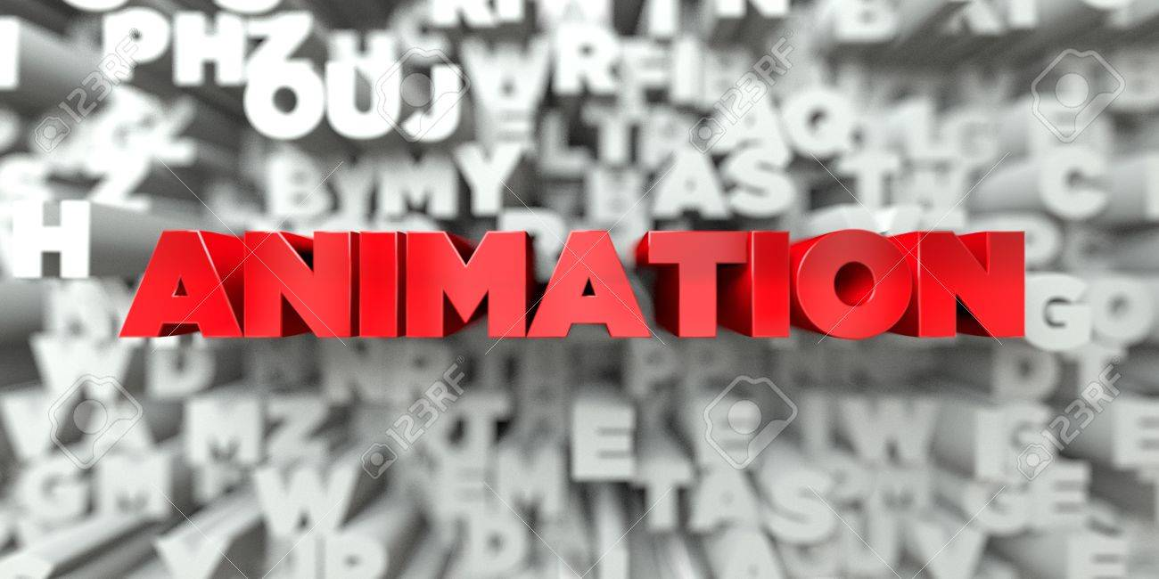 ANIMATION - Red text on typography background - 3D rendered