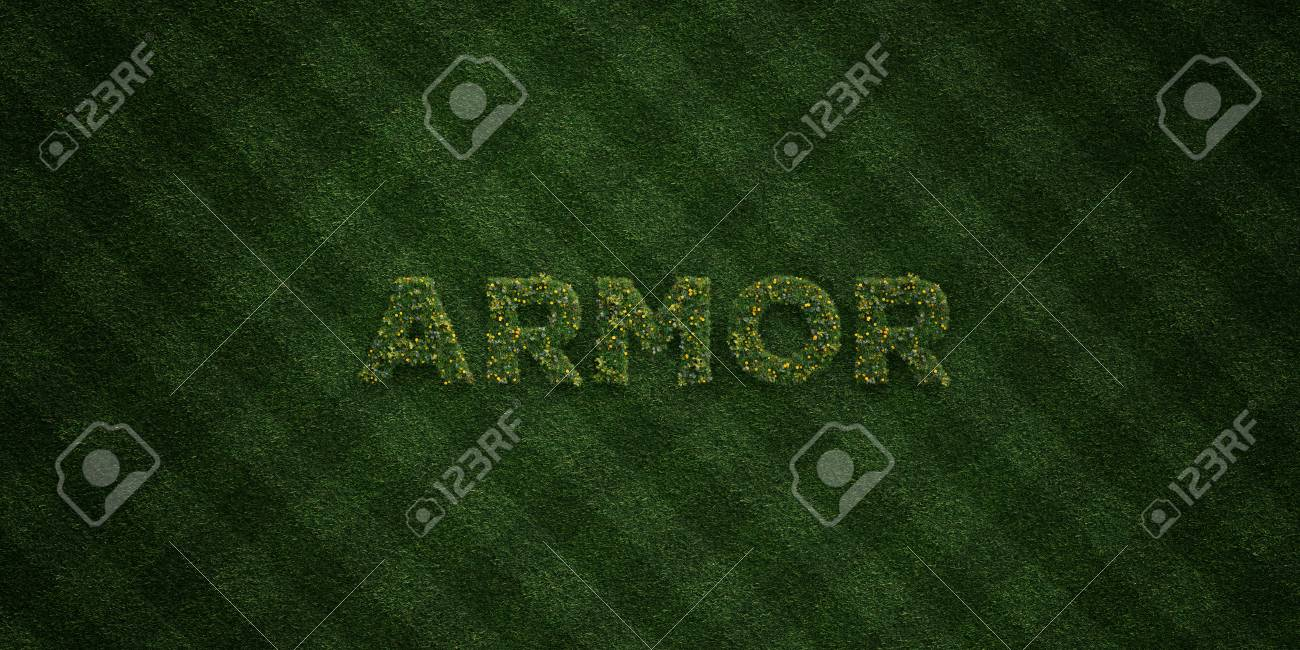 ARMOR - fresh Grass letters with flowers and dandelions - 3D
