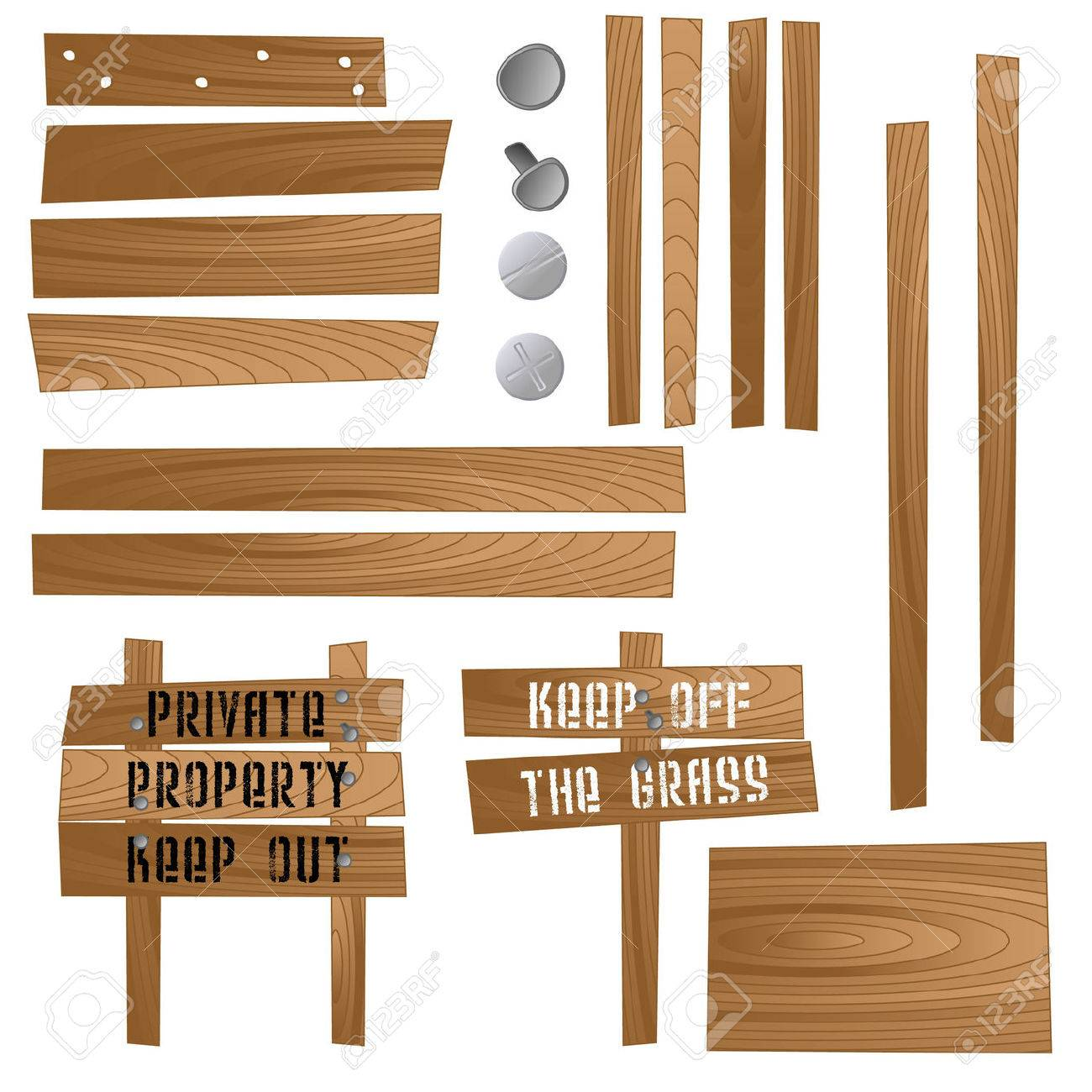 Set of wooden signs and sections so that you can make your own. Available in jpeg and eps8 formats. - 5535512
