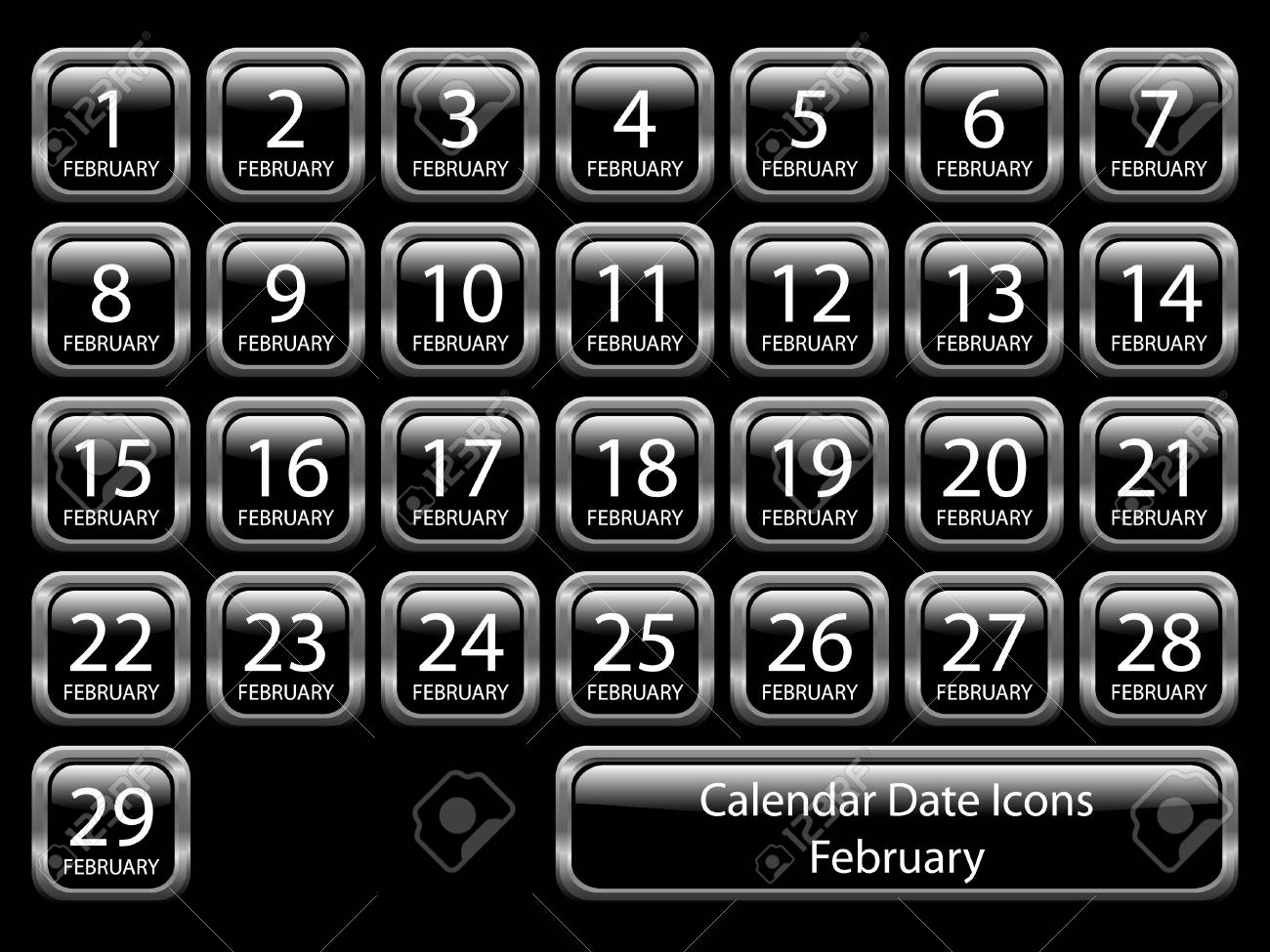 Glossy icon set showing calendar dates for February. Available in jpeg and eps8. Stock Vector - 5548694