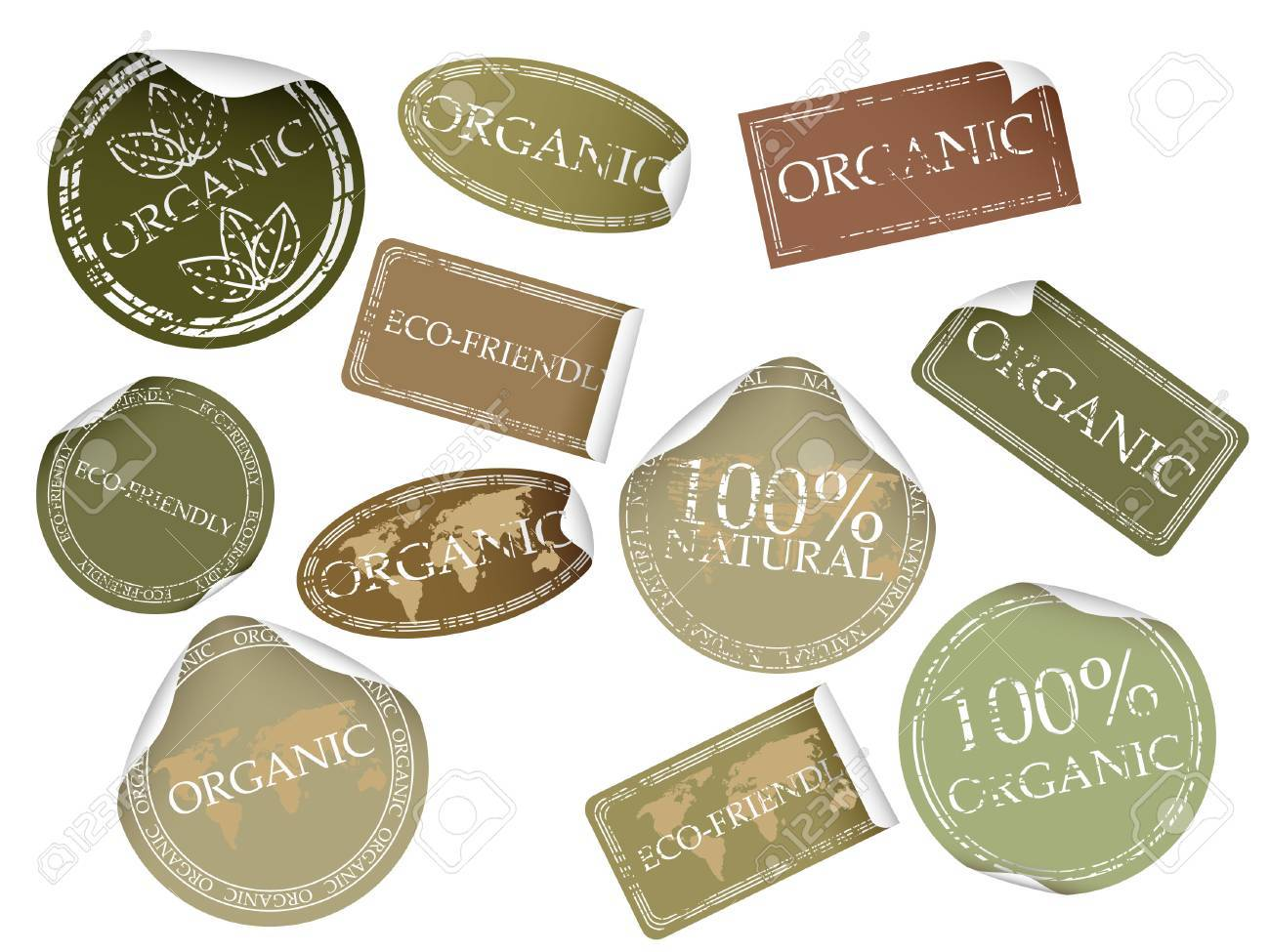 Set of natual labels. Available in jpeg and eps8 formats. - 5548905