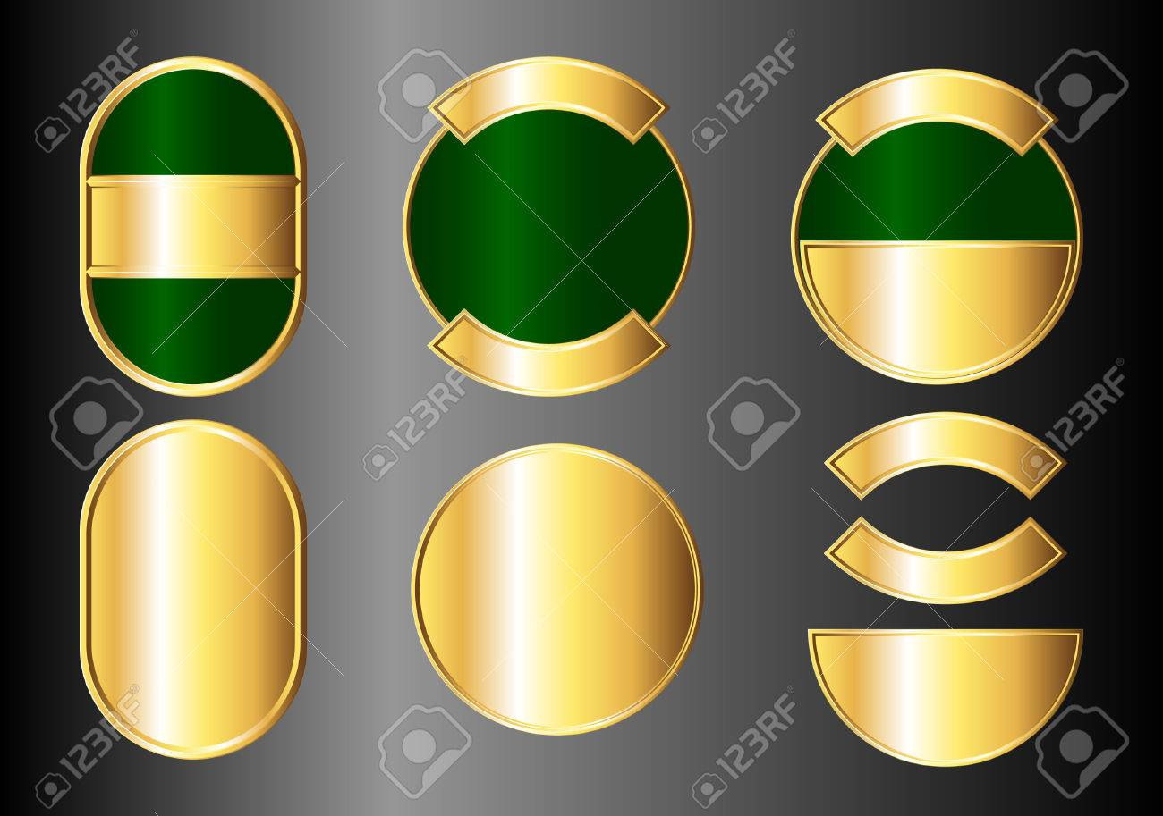 Set of green and gold badges. Available in jpeg and eps8 formats. Stock Vector - 5548927