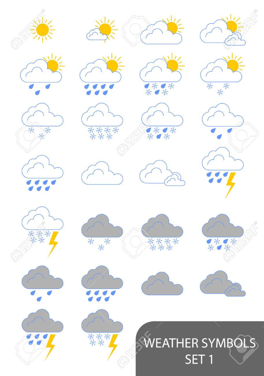 Set of weather symbols. Available in jpeg and eps8 formats. Stock Vector - 5664548
