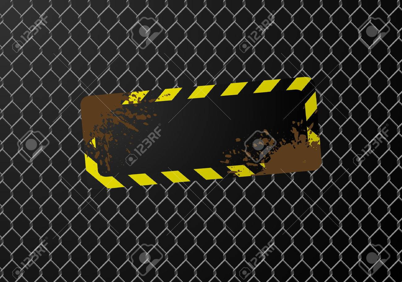 Blank sign on a chain link fence. Available in jpeg and eps8 formats. Stock Vector - 5819766