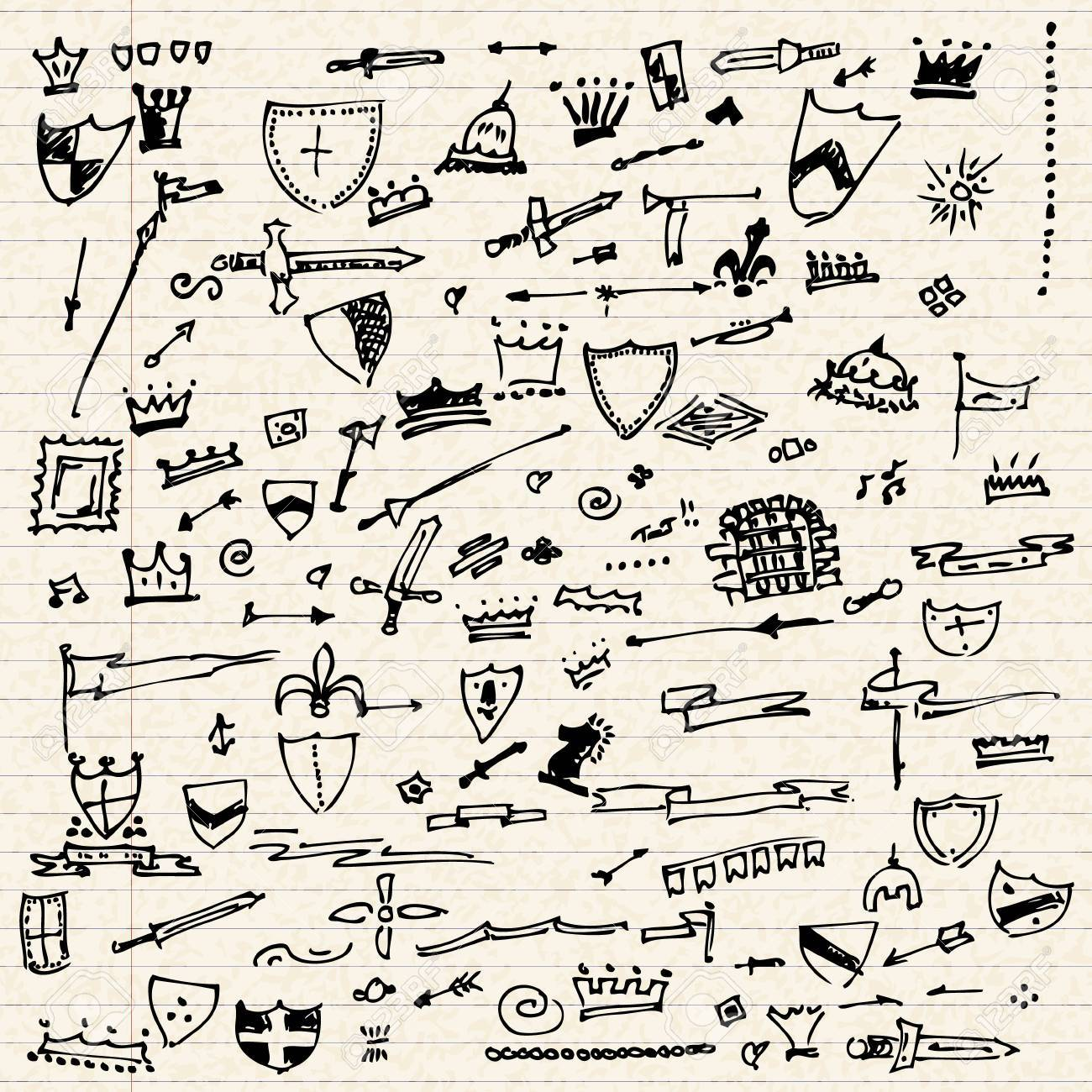 Illustration Of Doodles On A Sheet Of Lined Paper Royalty Free Cliparts Vectors And Stock Illustration Image 38772656