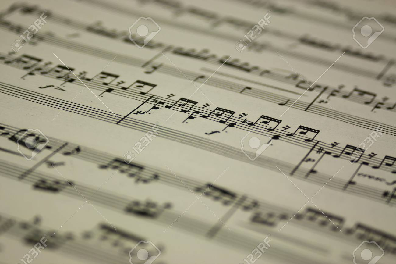 Close up of notes on sheet music