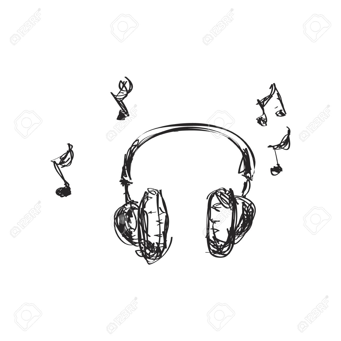 Simple hand drawn doodle of a set of headphones - 42090284