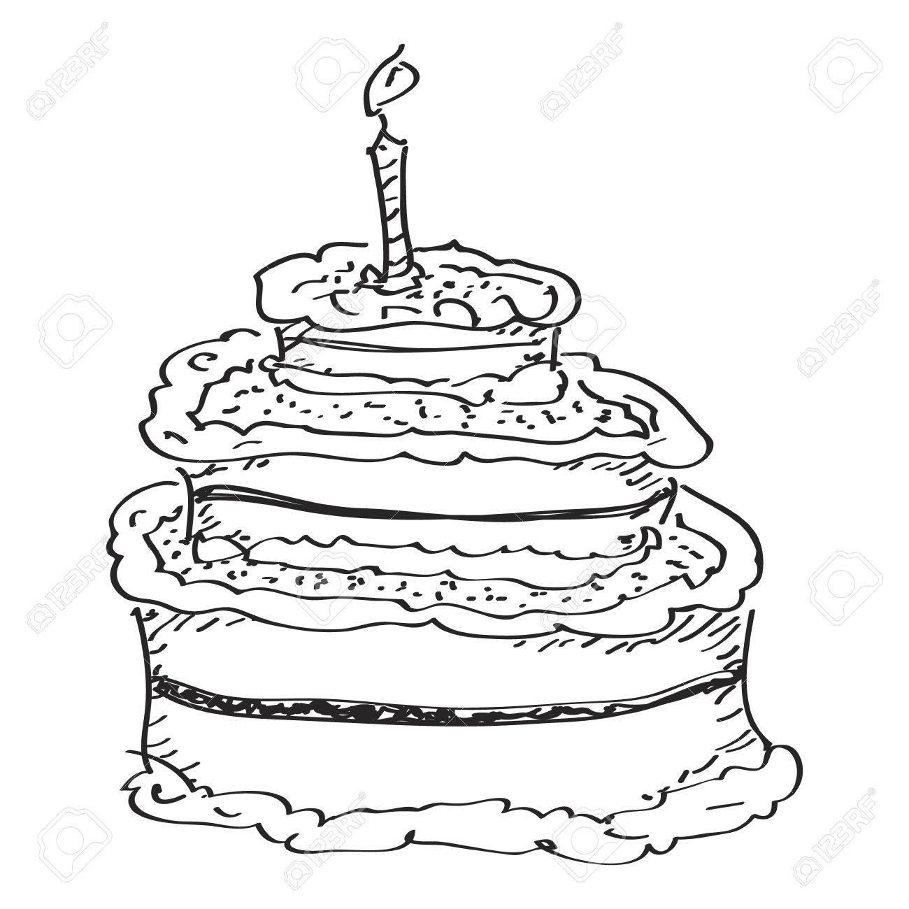 Simple Hand Drawn Doodle Of A Birthday Cake Royalty Free Cliparts Vectors And Stock Illustration Image 42649664