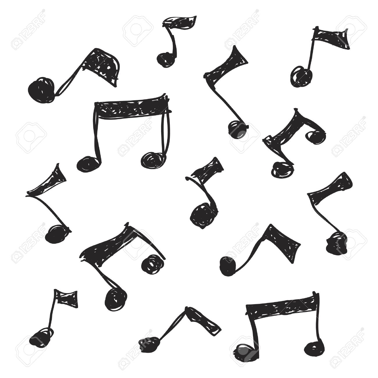 Simple Hand Drawn Doodle Of Some Music Notes Royalty Free Cliparts